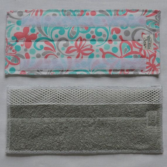 Swiffer WetJet Pad with Scrubbing Strip Pink and Teal fabric handcrafted fabric goods and gifts from western Pennsylvania by See Ella Sew