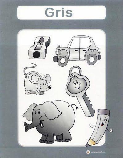 color gris fichas infantiles para aprender los colores imprimir gratis para niños