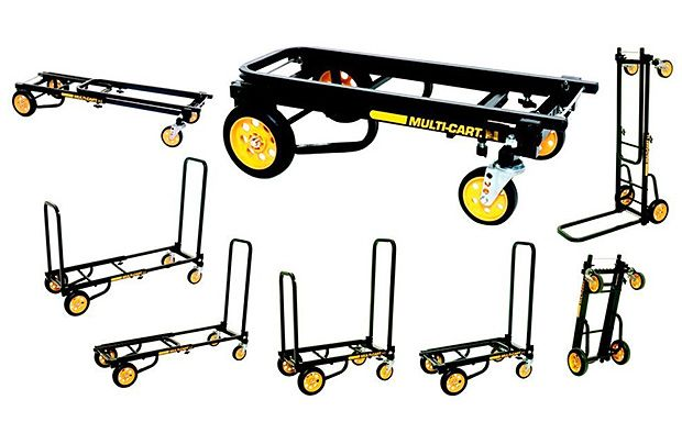 Rock N Roller Multicart -- This American made multi-cart quickly transforms into 8 different configurations to efficiently transport all kinds of cargo up to 350 pounds. Works as a hand truck, luggage cart, high stacker, etc. The cart is expandable from 26-39 inches & features 6-inch no-flat tires. The frame is powder-coated steel. $69