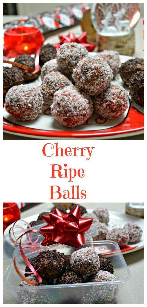 No Bake Cherry Ripe Balls from pinkpostitnote.com