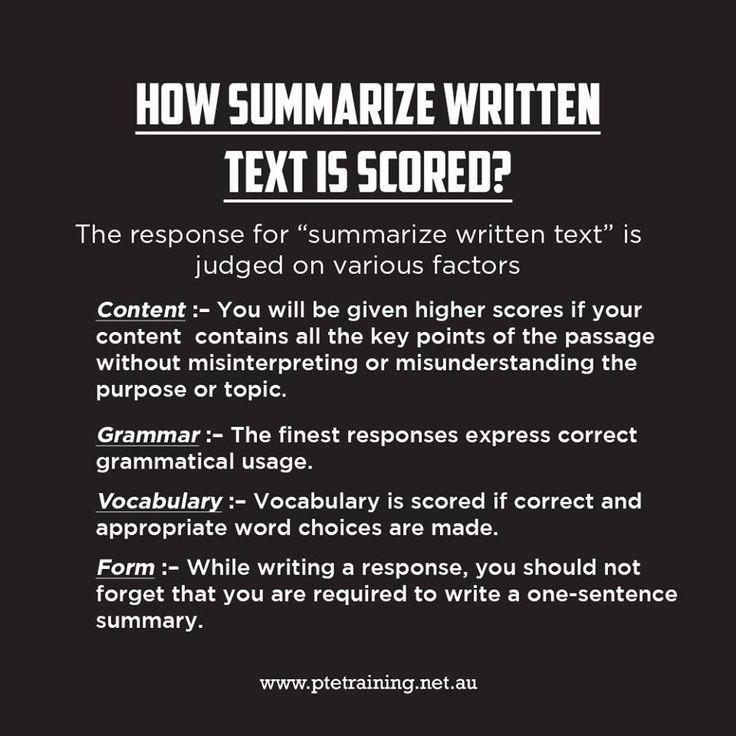 "The response for ""summarize written text"" is judged on this various factors.   #ptetrainingbrisbane #personalisedtraining #comprehensivetraining #personaldevelopment #learningskill #writingskill #inspirelearning"