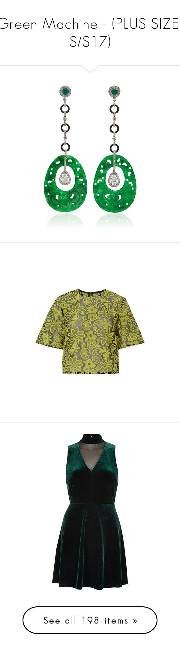 """""""Green Machine - (PLUS SIZE  S/S17)"""" by foolsuk ❤ liked on Polyvore featuring jewelry, earrings, diamond jewellery, diamond earring jewelry, diamond jewelry, circle diamond earrings, drop earrings, tops, yellow and sheer lace top"""