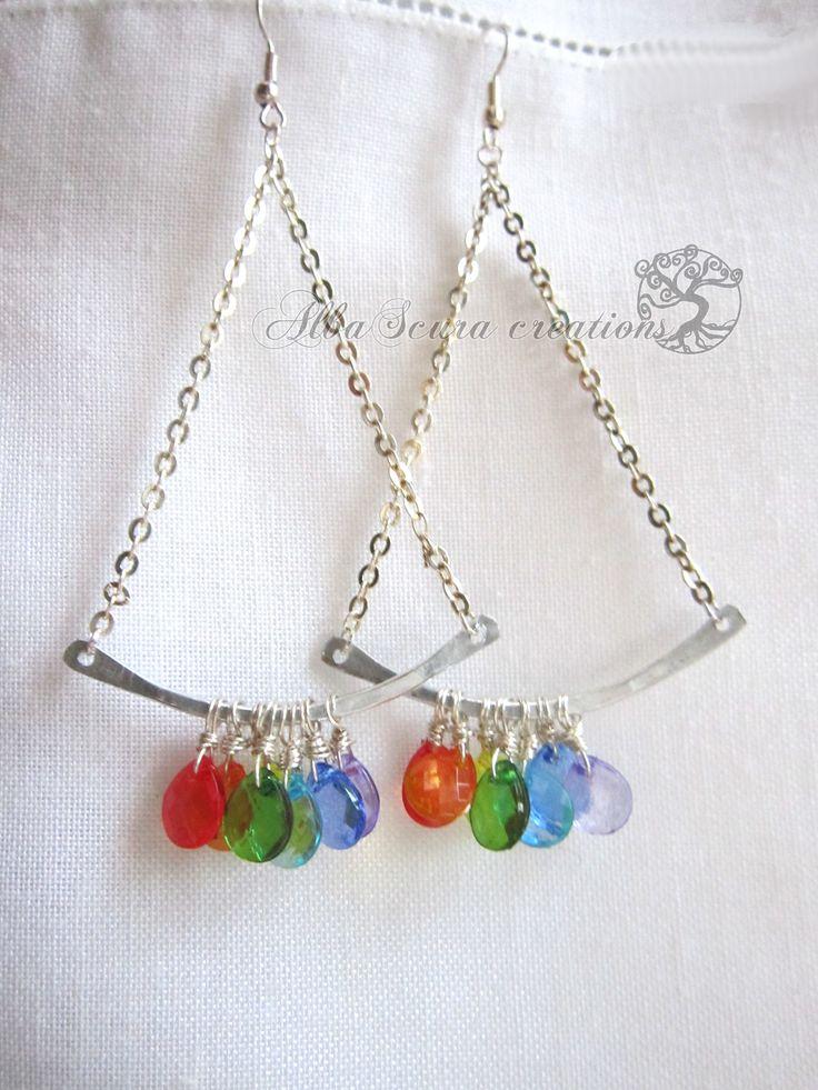 Rainbow earrings  orecchini realizzati con la tecnica wire.  Dimensioni: 5x8,5 cm  By AlbaScura creations