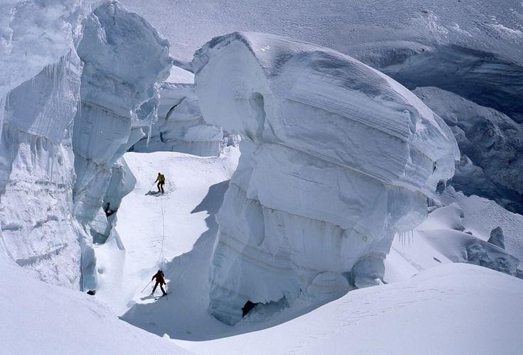 © René Robert; Catherine Destivelle entrainement sur la Mer de glace, Chamonix.