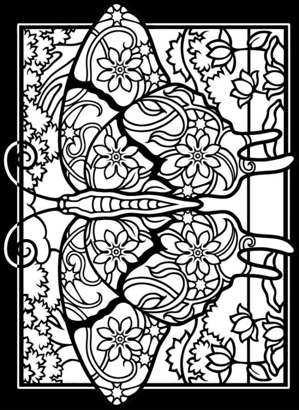 Dover Stained Glass Coloring Pages Coloring Page 1 2 3 4 By Dwilliamswood Butterfly Coloring Page Coloring Books Coloring Pages