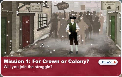 """This is a great computer game for 5th  students who have learned about the American Revolutionary War. It teaches about the people, battles, places, and events during the American Revolution. You play as a young 14-year-old boy living during 1777. You have to choose between """"crown or country"""" and the story unfolds from there."""