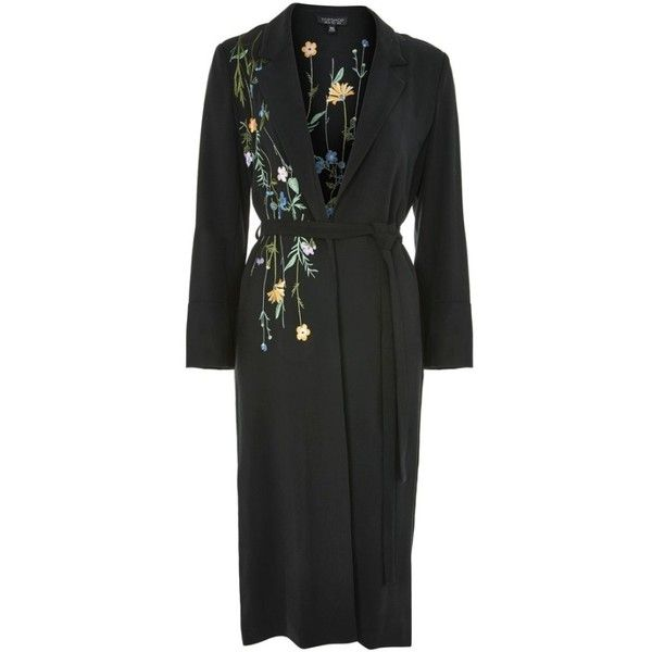Women's Topshop Floral Embroidered Duster Coat ($150) ❤ liked on Polyvore featuring outerwear, coats, multi colored coat, duster coat and colorful coat