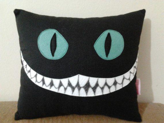 Handmade Alice in Wonderland Cheshire Cat Disney Tim Burton Black Party Favor Gift Stuffed Animal Toy Plush Pillow Cushion on Etsy, $24.95