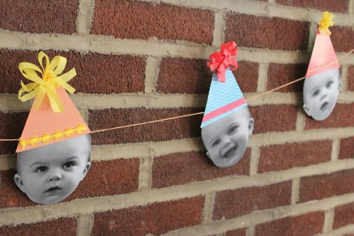 Such a cute banner using photo's of the birthday child! Darling DIY Birthday Decorations Using Photos