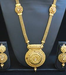 Buy Fine design long necklace set south-indian-jewellery online at, http://www.mirraw.com/designers/reeti-fashion/designs/fine-design-long-necklace-set-south-indian-jewellery