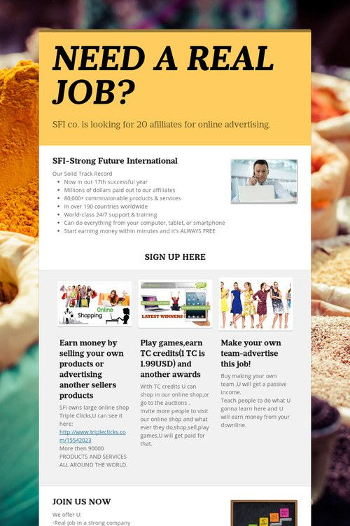 Help spread the word about NEED A REAL JOB?. Please share! :)