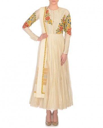 Cream Anarkali with Floral Embroidery