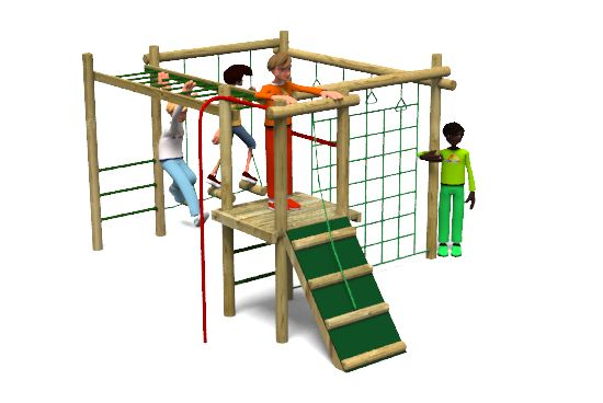 Carleton 3 Climbing Frame Playground Equipment includes 1 play tower, single platform, clamber ramp with a pull up rope, fireman's pole, horizontal ladder, climbing bars, trapeze rings and a climbing net. http://www.actionplayandleisure.co.uk/carleton-3/
