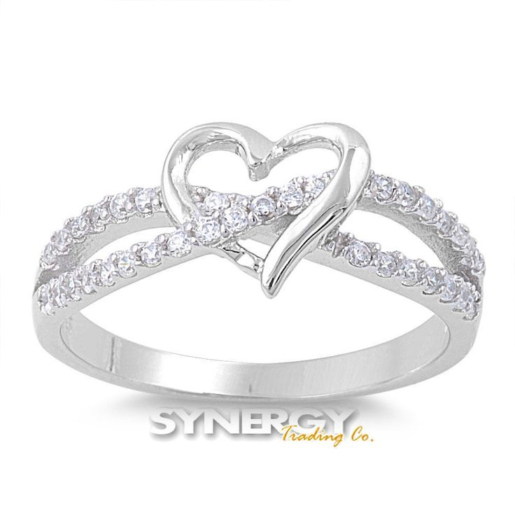 .925 Sterling Silver Infinity Heart Love Knot Promise Ring Clear CZ Size 5-11 #Unbranded