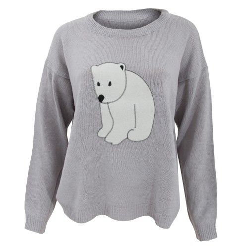 Ladies Christmas jumper with cute animal design. Choice of Fox or Polar Bear designs. Ribbed cuffs, collar and waistline. Choice of four sizes. 100% Acrylic. Machine washable at 40c.