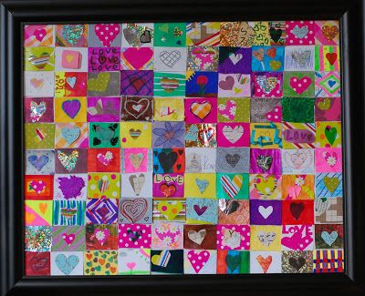"""""""100 Hearts"""" - The students designed 100 tiny heart pictures, each one as unique & creative as the young artists who created them. The piece is signed by the whole class."""