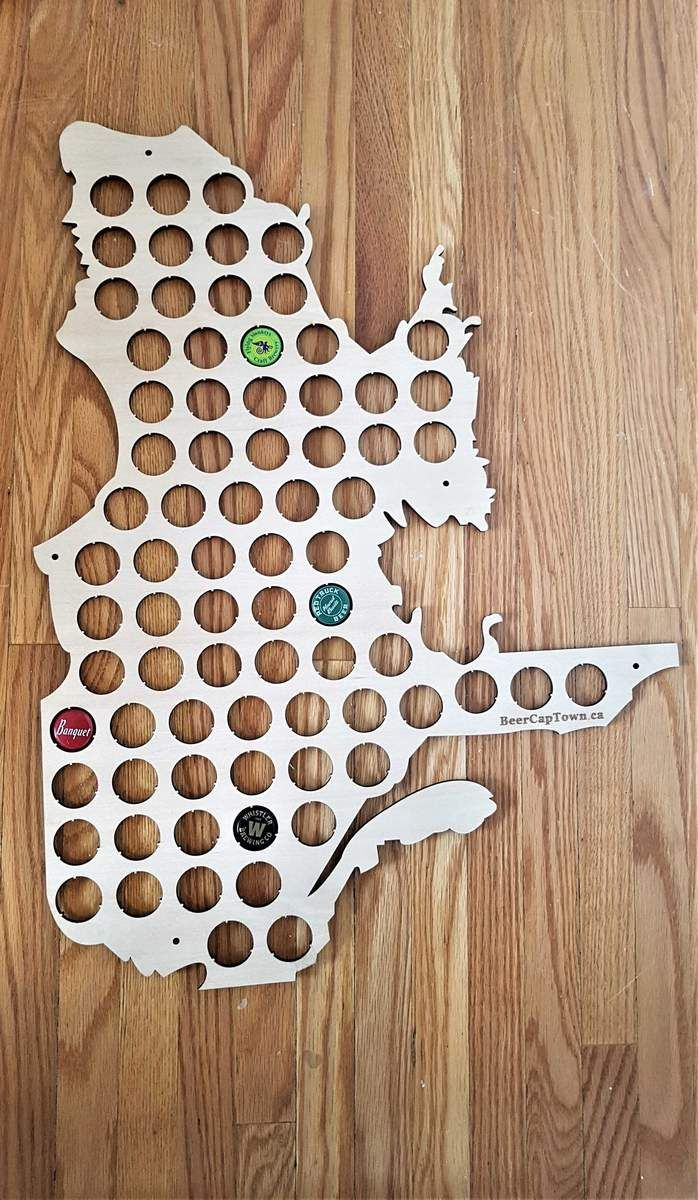 Texas Beer Cap Map Laser Cut Birch Wood Man Cave Craft Beer Cap Holder TX Art