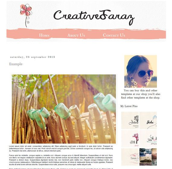 Colorful  Premade Blogger Template   Instant by Symufathemes, $25.00