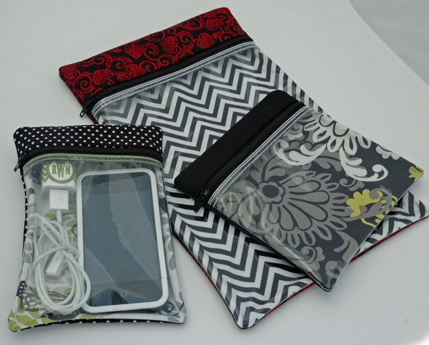 Versatile See Through Cases Set. There re 9 case designs in this set. Each one is made 'in your hoop' and has no raw edges inside. Designs by Embroidery Garden