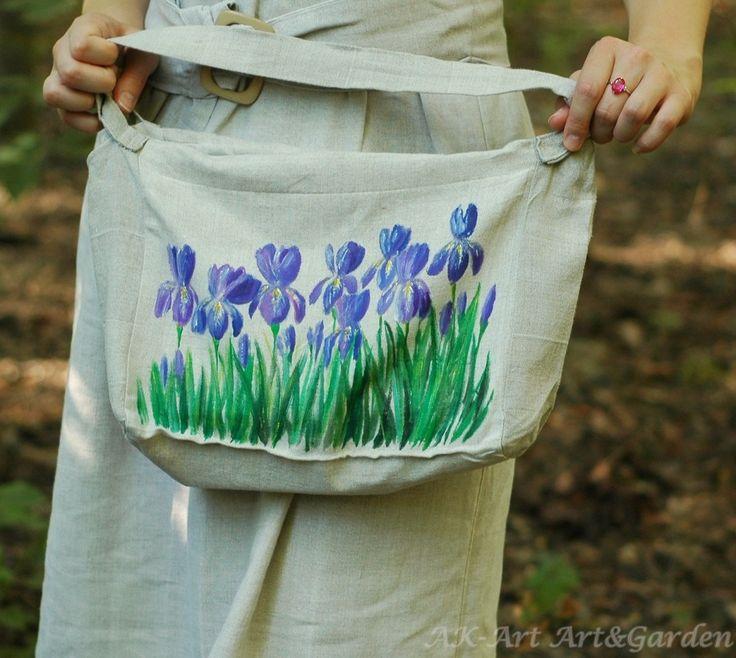 A tę torbę zostawiłam sobie ;) Uszyta i pomalowana w irysy :) I left this bag for myself - sewn and painted in irises :) Ich habe diese Tasche für mich gelassen - genäht und in Schwertlilien gemalt :)