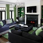 Navy blue couches family room contemporary with navy blue sectional black fireplace
