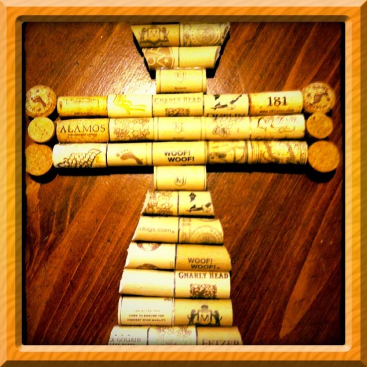 Wine cork cross tey sanchez pinterest cork cork for Wine cork welcome mat
