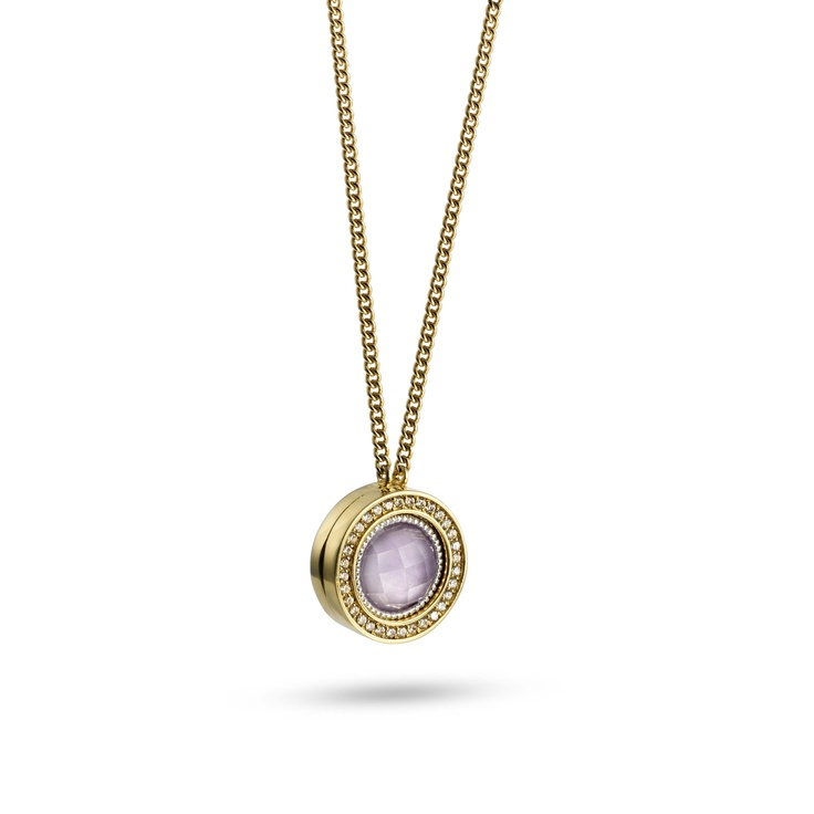 Gold necklace with amethyst