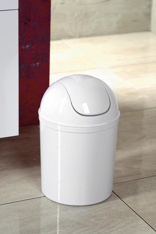 Odpadkový koš výklopný, 5l, plast, bílá, SAPHO E-shop