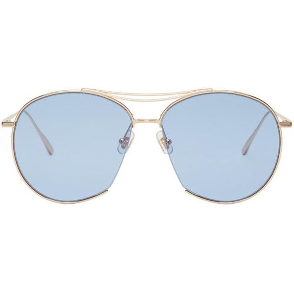 Gentle Monster Gold and Blue Jumping Jack Aviator Sunglasses (16,205 INR) ❤ liked on Polyvore featuring men's fashion, men's accessories, men's eyewear, men's sunglasses, gold, mens blue aviator sunglasses, gentle monster mens sunglasses, mens gold aviator sunglasses and mens gold sunglasses