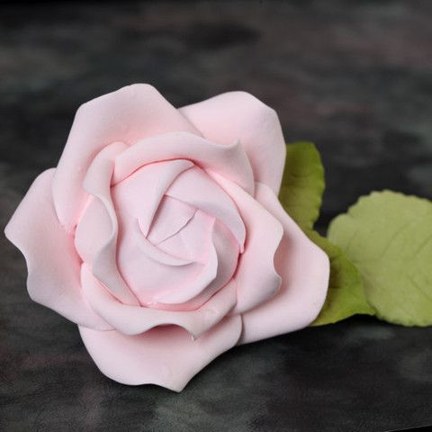Pink Gumpaste Cabbage Rose handmade cake decoration.