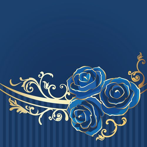Beautiful blue rose vintage background vector 04