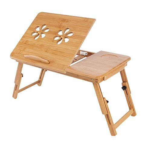 Table d'ordinateur portable multifonctions en bamboo Bigtree Support Ordinateur Tablette mobile flexible réglable Table de Lit pliable…