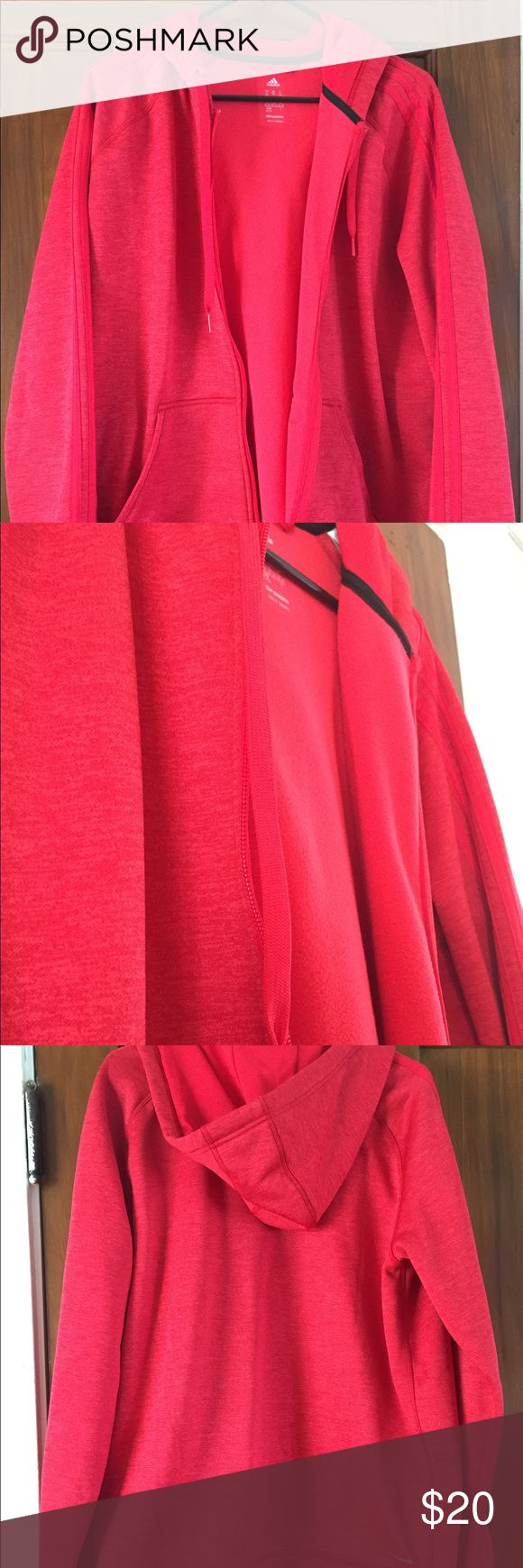 XL adidas zip up Red XL adidas zip up. Worn only a few times. Also has thumb holes for working out. adidas Jackets & Coats