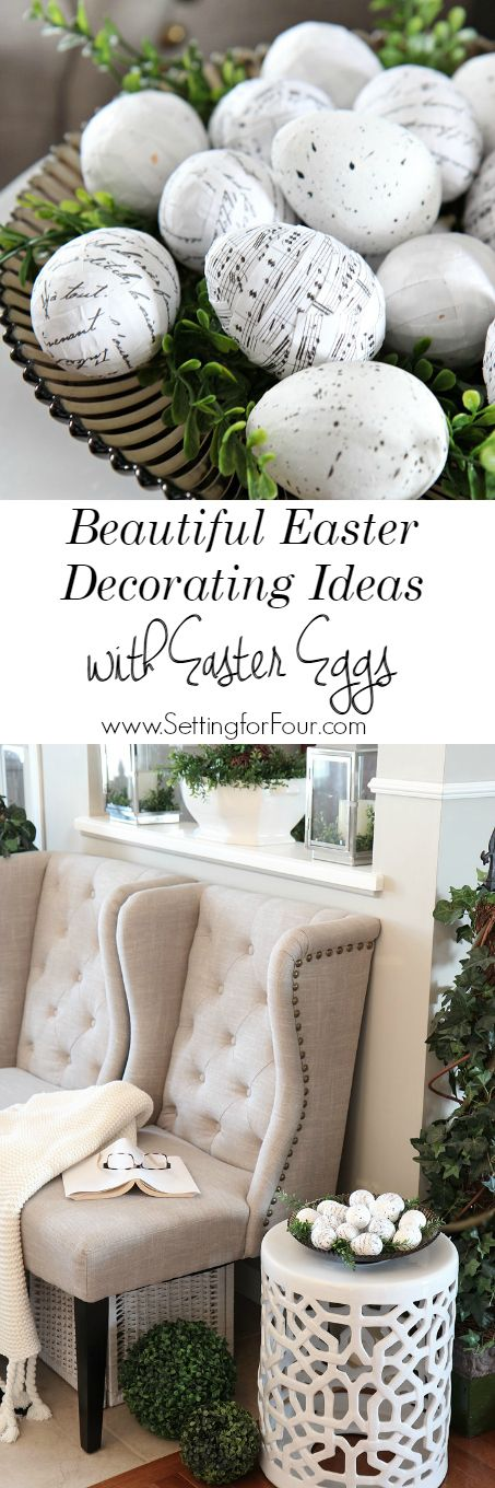 Decorate for Easter in a jiffy! I love decorating in simple, easy ways for Easter and Spring. Come see these easy, beautiful Easter decorating ideas with Easter eggs that you can DIY! www.settingforfour.com
