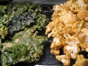 Chips de kale et popcorn de chou-fleur