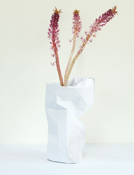 Vision. Dutch designer Pepe Heykoop has created a paper cover to turn any glass jar or bottle into a faceted vase, sold to help impoverished women in Mumbai make a living. The vase is made of coated paper and comes in white or graduated green colour blocks. It's transported in an envelope and can be rolled down to fit different sizes of bottle.