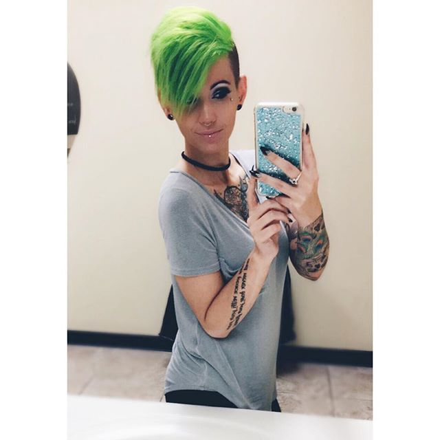 I'll make sure the whole world knows your name, But for all the wrong reasons. 👌🏻✌🏻️ #iprevail #faceyourdemons #chestpiece #sleeve #halfsleeve #inked #inkedwomen #tattoos #girlswithtattoos #septum #verticallabret #dermal #dermalpiercing #greenhair #greenpixie #pravana #neongreen #neongreenhair @pravana  #fiidnt #nothingbutpixies @nothingbutpixies @fiidnt #pravananeons