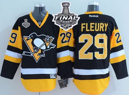 Penguins #29 Andre Fleury Black Alternate 2017 Stanley Cup Final Patch Stitched NHL Jersey