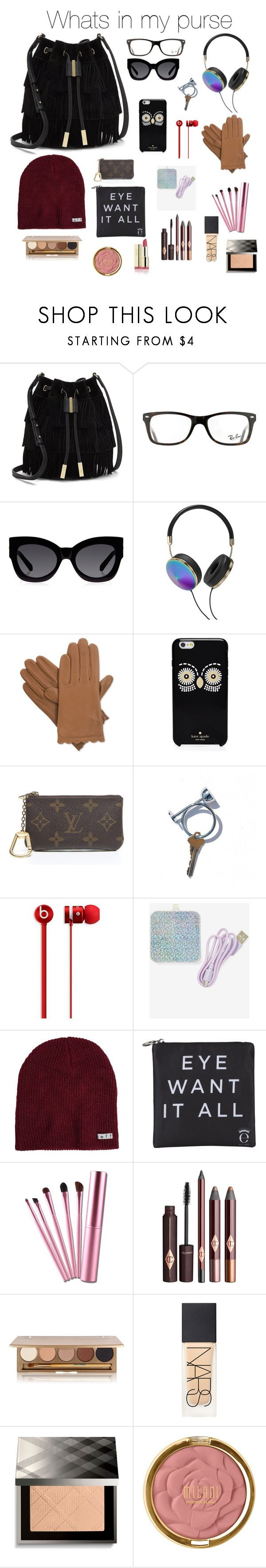 Whats in my purse by gabriellaallen on Polyvore featuring Vince Camuto, Louis Vuitton, Neff, Isotoner, Kate Spade, Karen Walker, Ray-Ban, Jane Iredale, Burberry and Milani