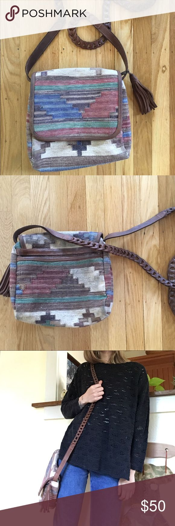 Vintage Southwestern Tapestry Bag Beautiful vintage bag with a nice southwestern design and pretty leather strap and fringe tassel. Bags Satchels