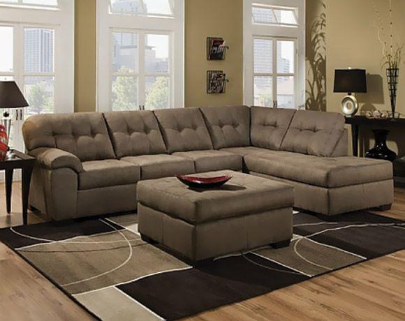 Tan microfiber couch shiitake mushroom two piece for 6 piece microfiber sectional sofa