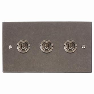 3 Gang Brushed Steel Dolly Switch (Bevelled Plate) made by Jim Lawrence