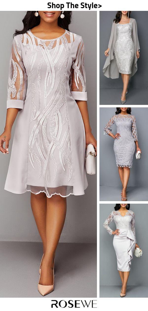 Hot Sale & Three Quarter Sleeve Back Zipper Round Neck Lace Dress
