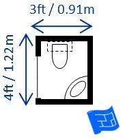 3ft x 4ft half bath or guest bath layout.