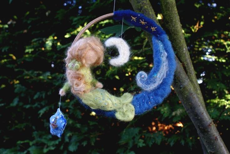 Waldorf Mobile - Mermaid - Felt - Plant Dyed - Organic - organic baby - needle felted - The Little Mermaid -nursery mobile