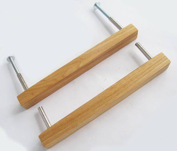 Wooden Drawer Pull Oak Wood Drawer Handle Modern Cabinet Pulls