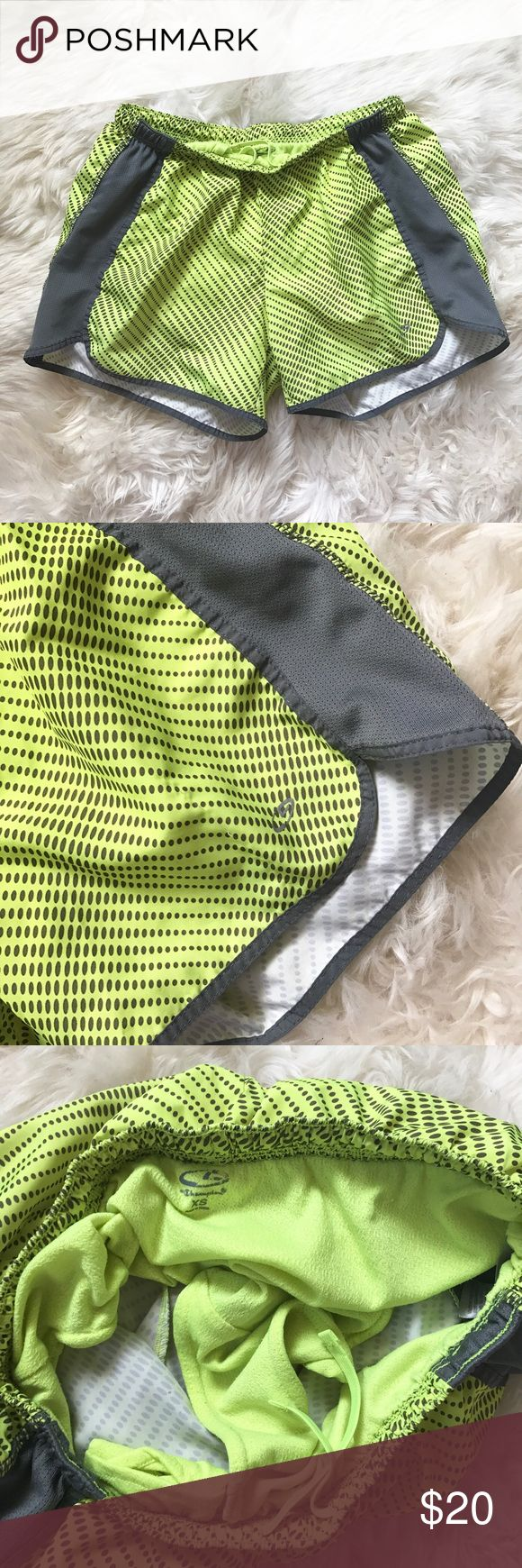 """Champion Neon Green & Gray Polka Dot Running Short Inexcellentcondition. Lightweight woven 100% polyester. Has inner brief liner to provide secure coverage andhidden key pocket. Mesh gray side panels. Smooth flat waistband with low profile inner drawcord. Measures 13""""acrosswaist, stretchy, & 10 1/2"""" in length. """"C"""" logo at left hem. ❌NO TRADES OR PAYPAL❌ Champion Shorts"""