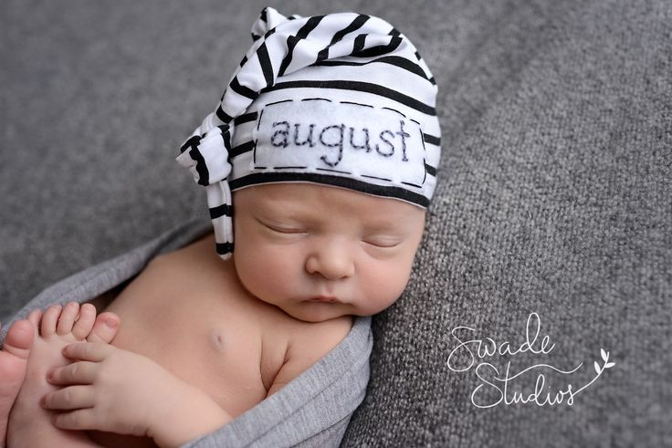 newborn personalized beanie-  knot hat - baby boy hospital hat - hospital hat - Www.littleoneslove.com