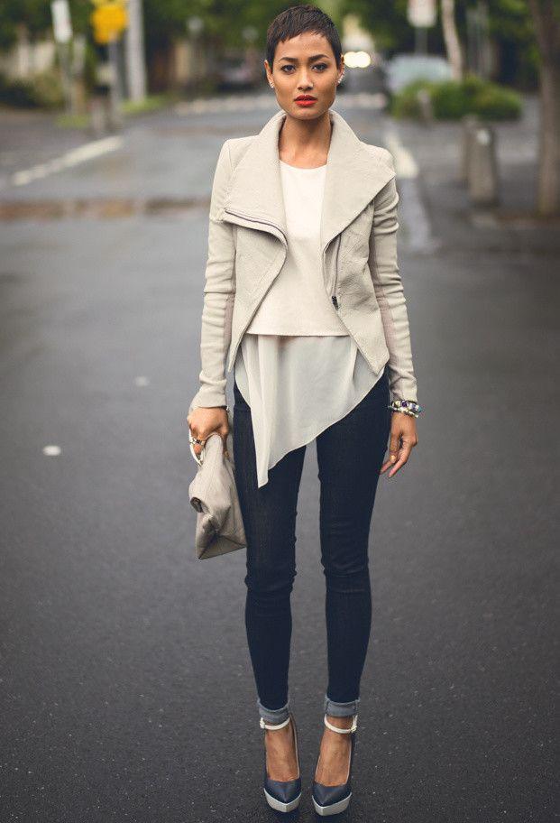 Kookai Jacket, saxony shirt and levi's jeans