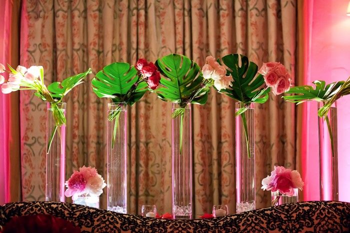 Tropical leaves brought exotic elegance to this @Mandy Dewey Seasons Resort The Biltmore Santa Barbara display.